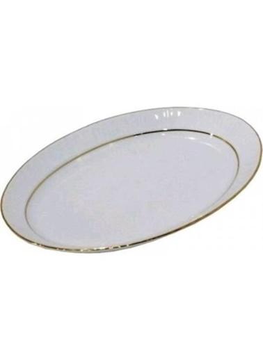 Kütahya Porselen Kütahya porselen kayık tabak sedef yaldızlı 25 cm. Renkli